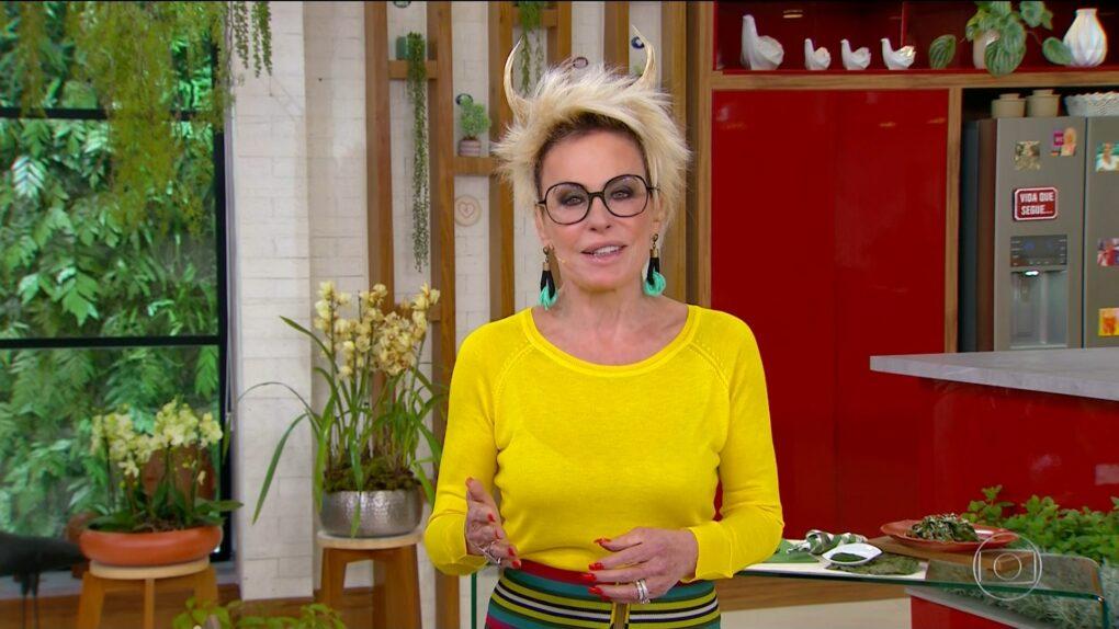 Ana Maria Braga apareceu com chifres no cabelo (Reprodução/Globo)