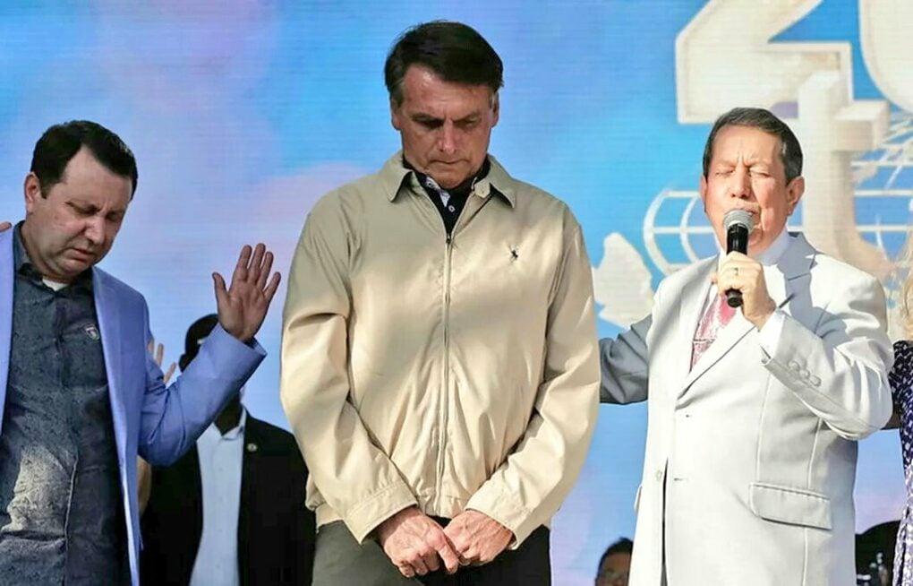 David e R. R. Soares ao lado do presidente Jair Bolsonaro (Reprodução)