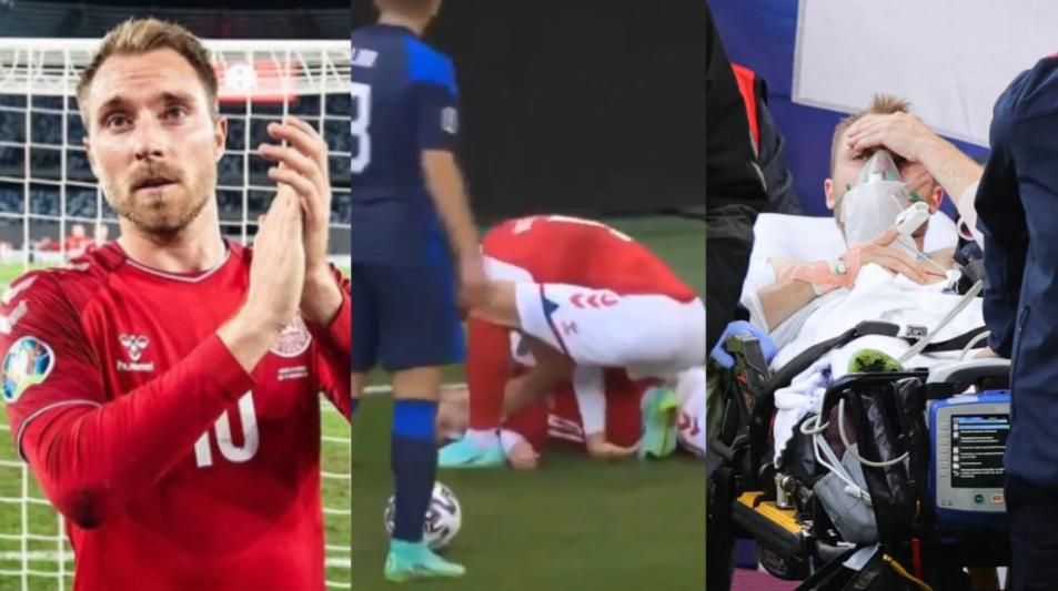 Jogador da Dinamarca desmaiou em campo e foi notícia na Globo (Foto: Reprodução)