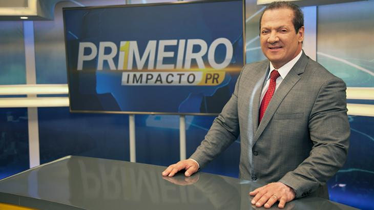 Gilberto Ribeiro apresenta o Primeiro Impacto Paraná (Reprodução)