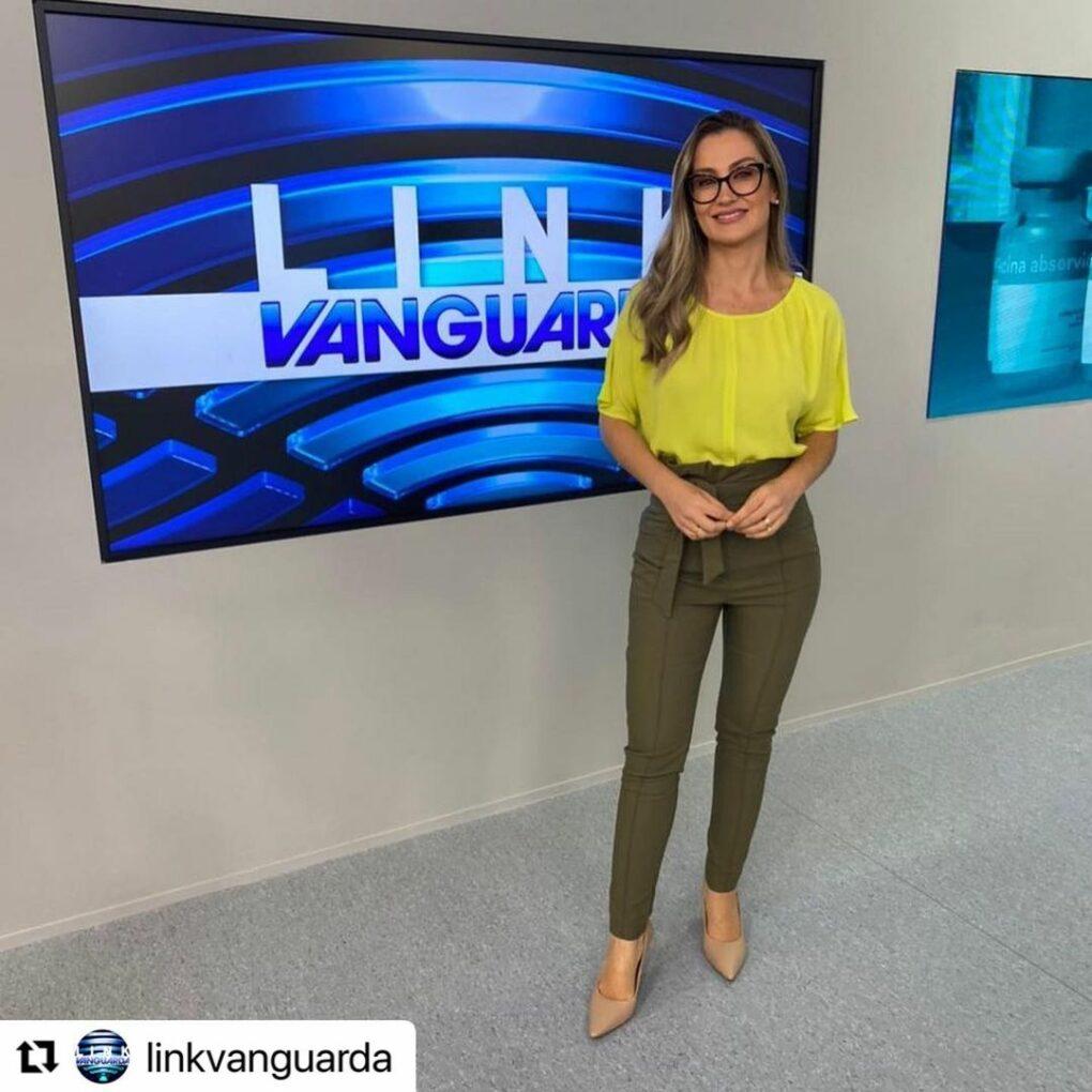 Agda Queiroz apresentando o Link Vanguarda, na afiliada da Globo (Reprodução/Instagram)