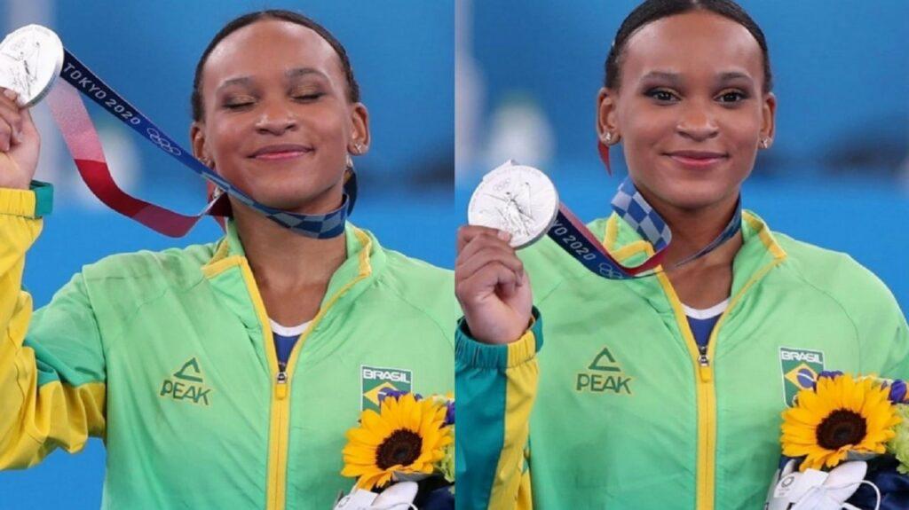 Rebeca Andrade levou prata na final individual geral da competição de ginástica artística dos Jogos Olímpicos 2020 (Foto: Reprodução)