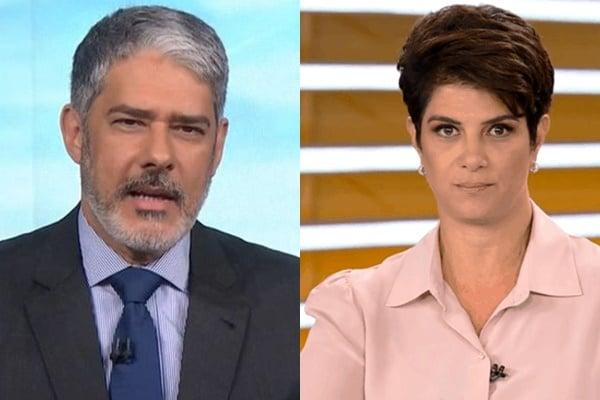 William Bonner e Mariana Godoy falam de Bolsonaro ao vivo na TV (Foto: Montagem Aaron Tura TV)