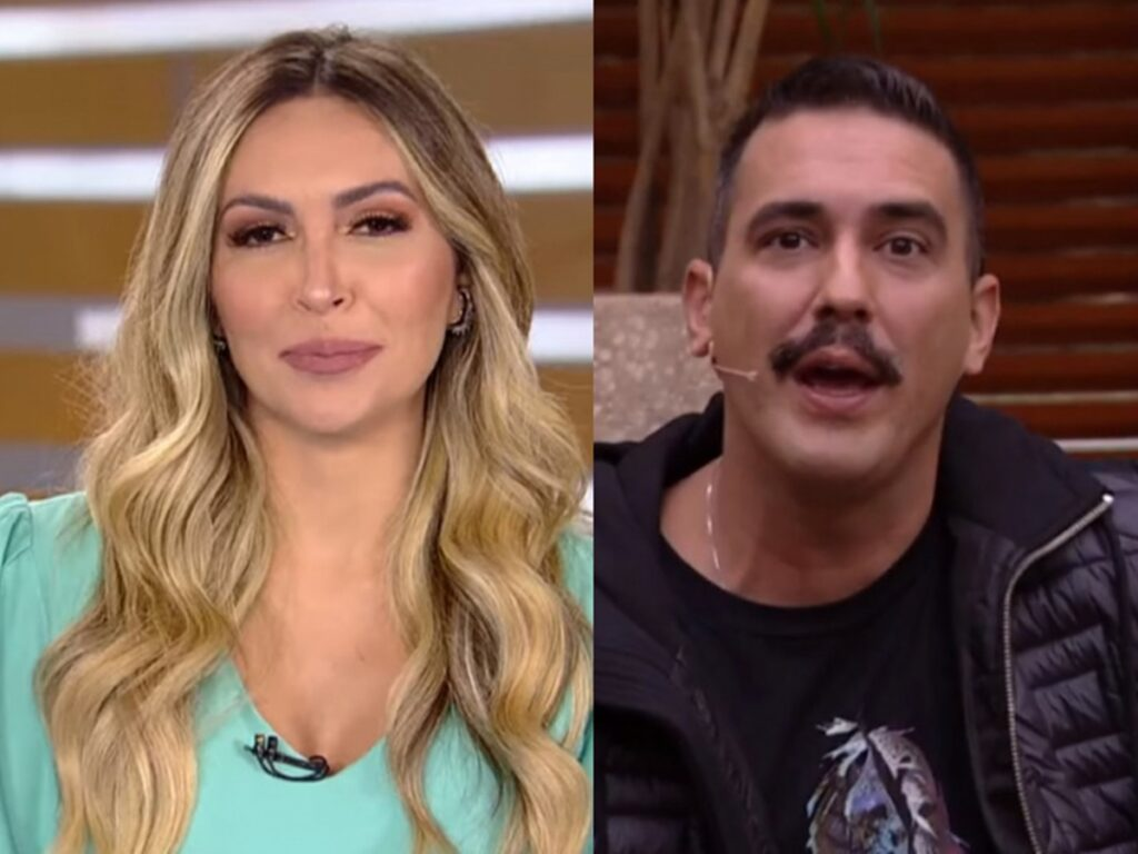 Thalita Oliveira no Fala Brasil e André Marques no É de Casa (Reprodução - Record TV - TV Globo)