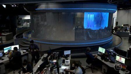 Falha técnica no Jornal Nacional da TV Globo (Foto: Reprodução)