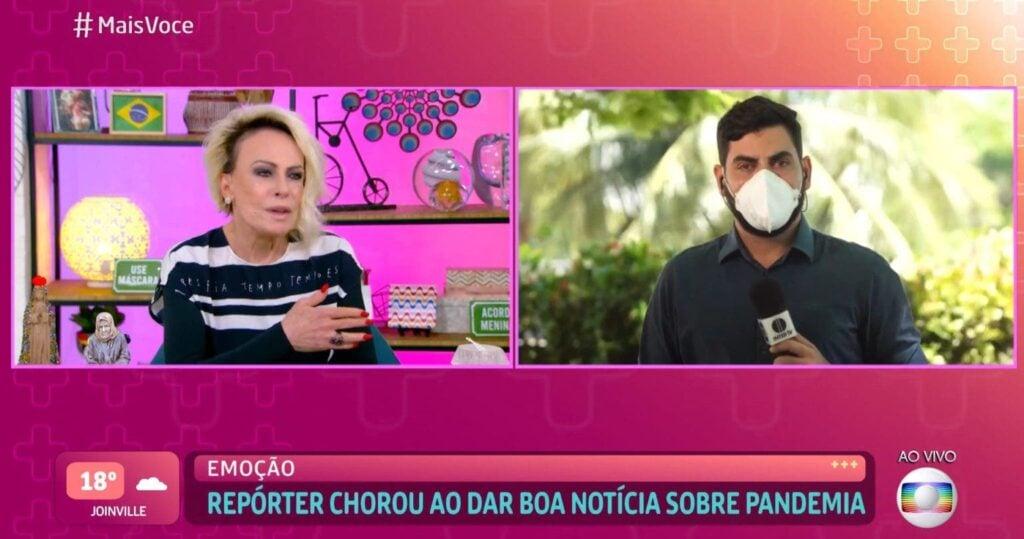 Ana Maria Braga e o repórter Kleber Teixeira (Reprodução/Globo)